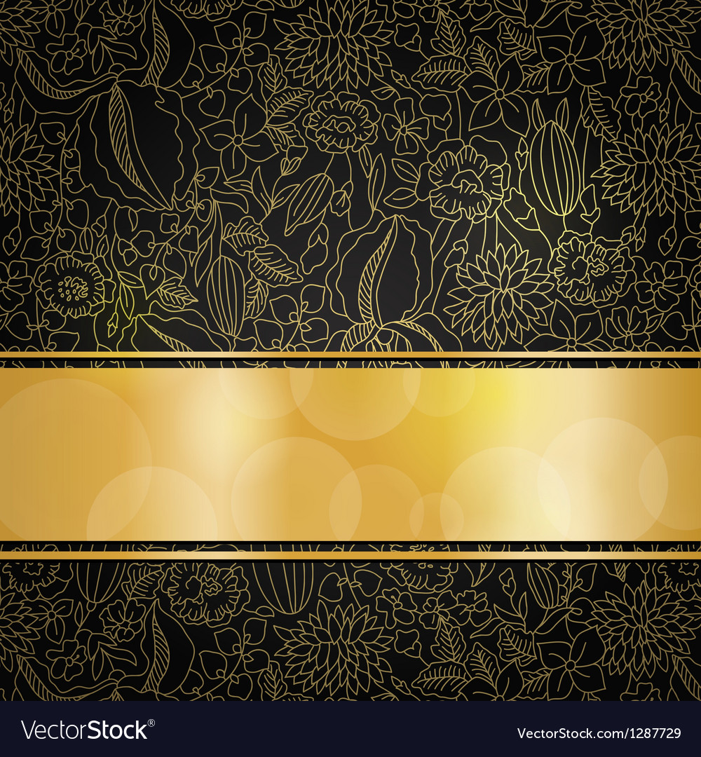 Golden floral background vector | Price: 3 Credit (USD $3)