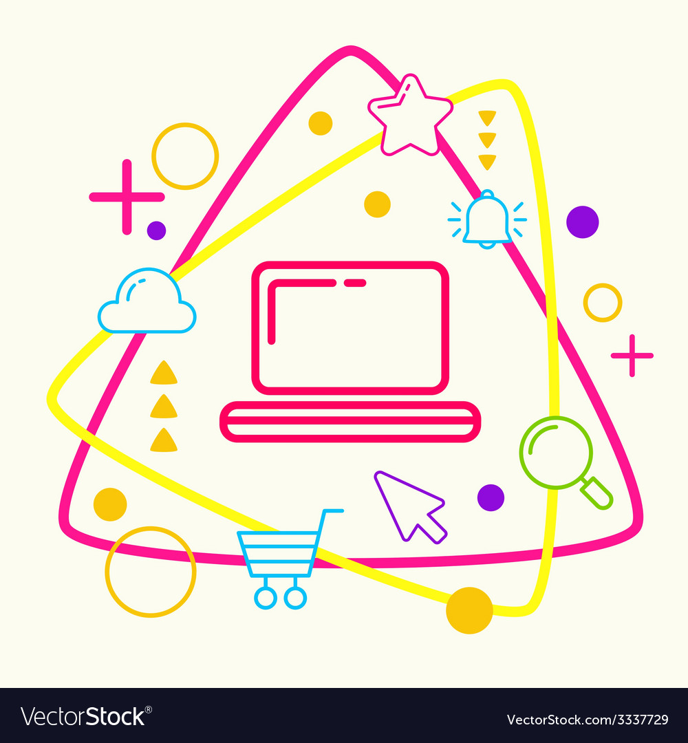 Laptop on abstract colorful geometric light vector | Price: 3 Credit (USD $3)