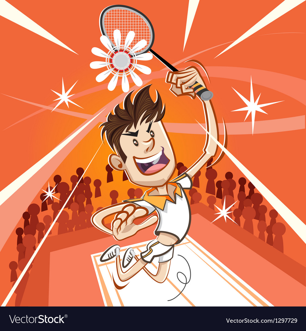 Male badminton player vector | Price: 3 Credit (USD $3)