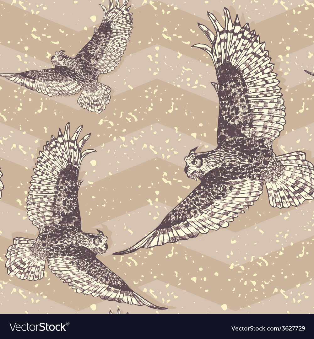 Seamless pattern with cute owl birds in vector | Price: 1 Credit (USD $1)