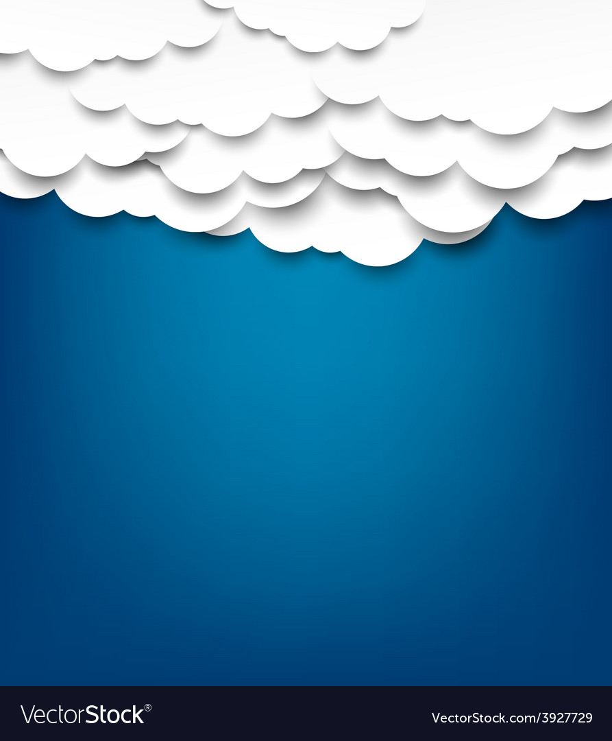 White paper clouds over blue background vector | Price: 1 Credit (USD $1)