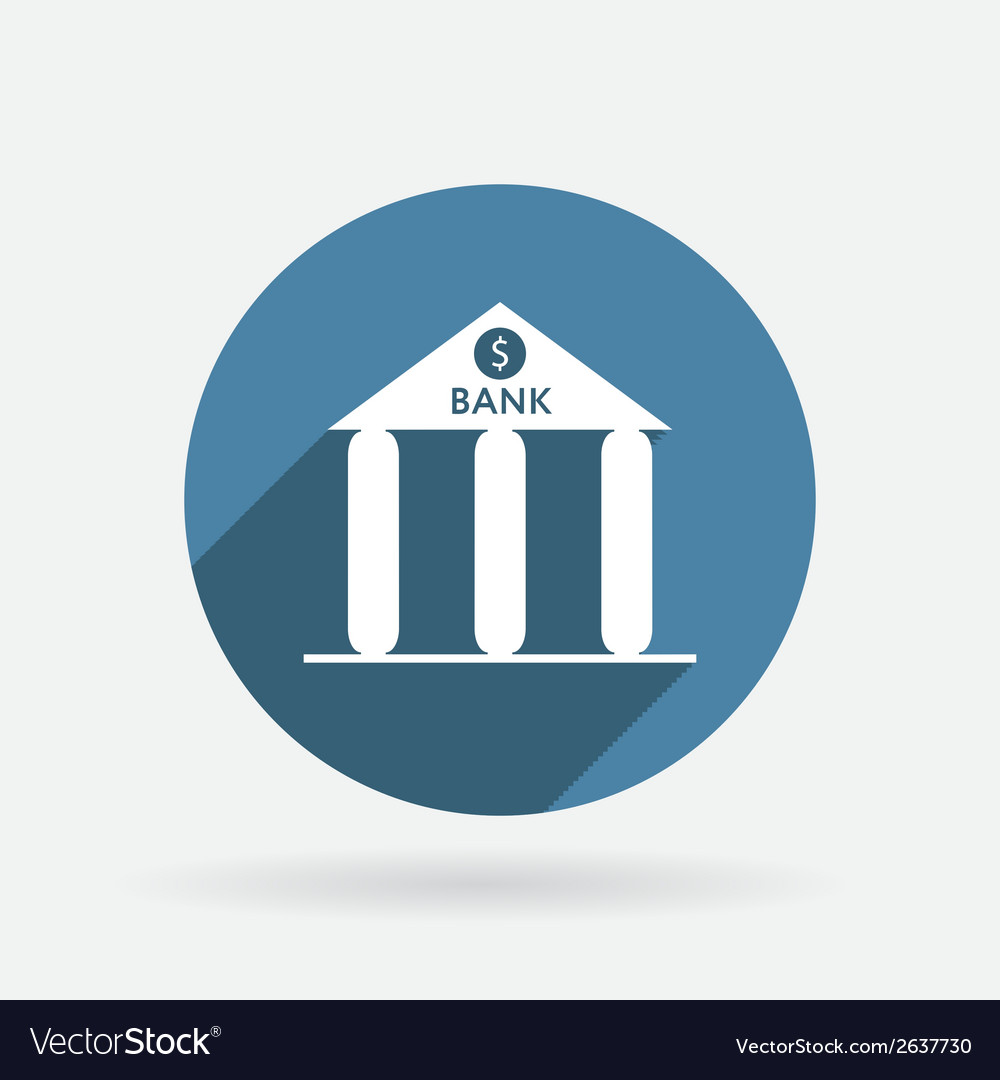 Bank building circle blue icon with shadow vector | Price: 1 Credit (USD $1)