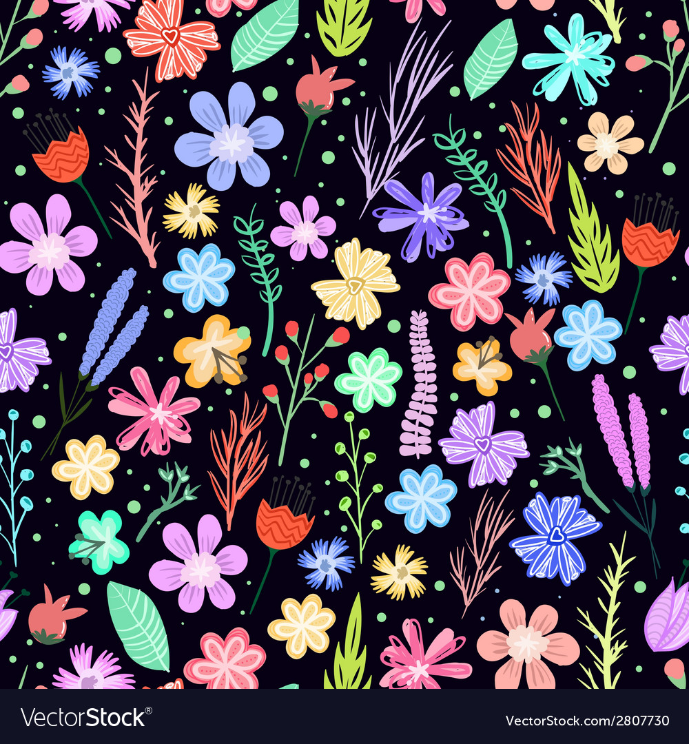 Colorful flowers seamless pattern vector | Price: 1 Credit (USD $1)