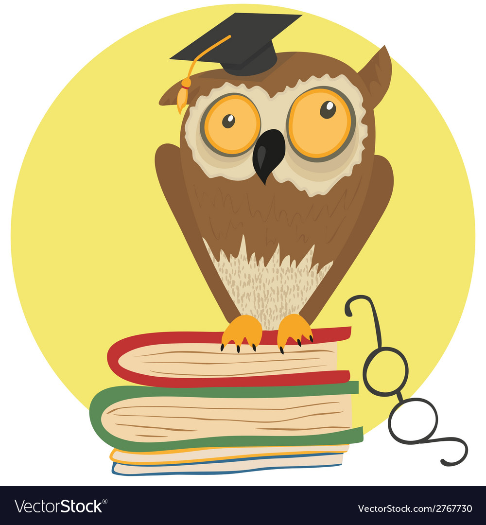 Crazy owl sitting on books vector | Price: 1 Credit (USD $1)