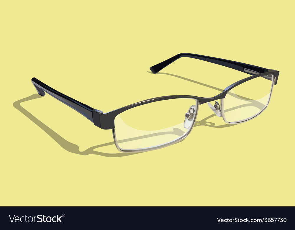Glasses with yellow background vector