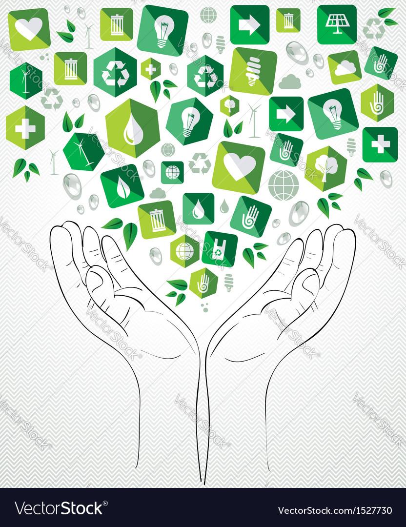 Green splash hands design vector | Price: 1 Credit (USD $1)