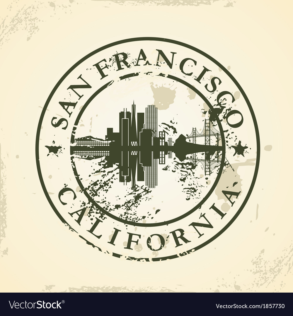 Grunge rubber stamp with san francisco california vector | Price: 1 Credit (USD $1)