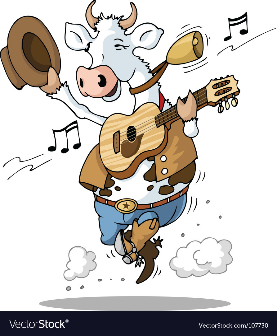 Guitar playing cow vector | Price: 1 Credit (USD $1)