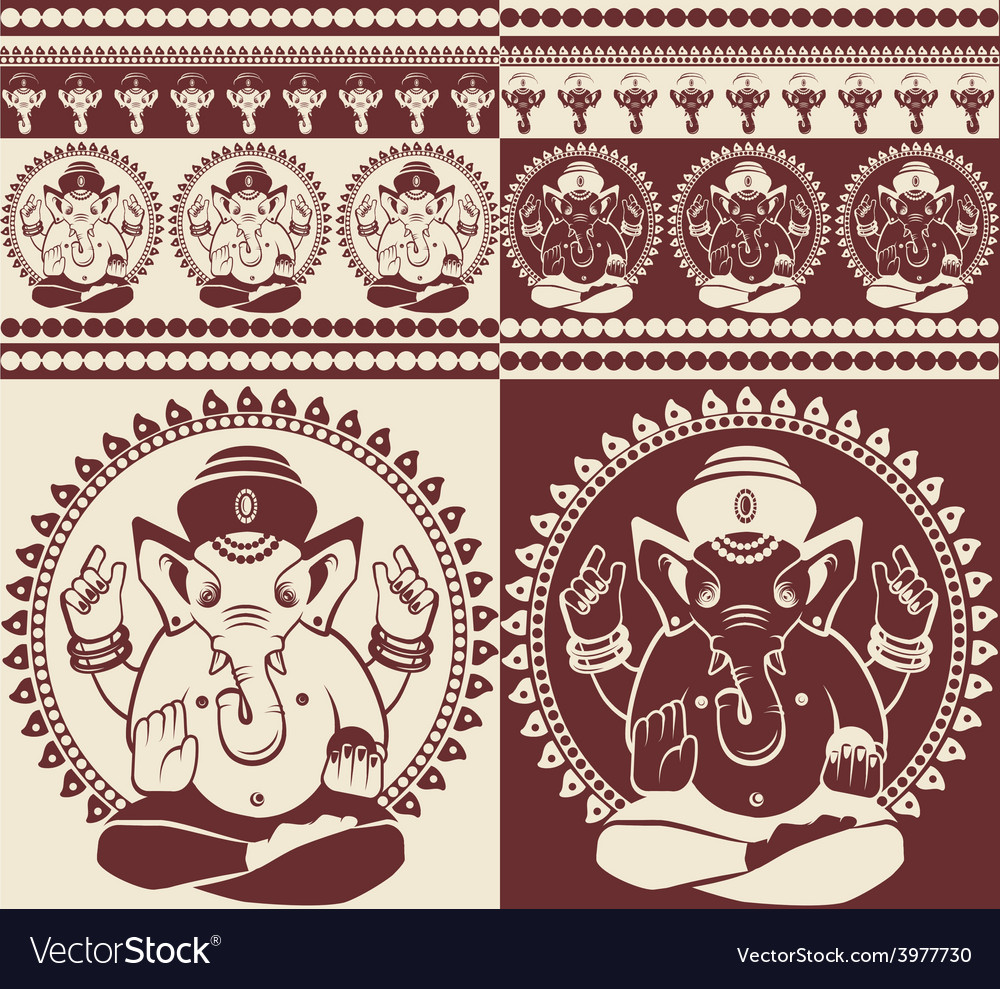 Indian god ganesha yoga pattern vector | Price: 1 Credit (USD $1)