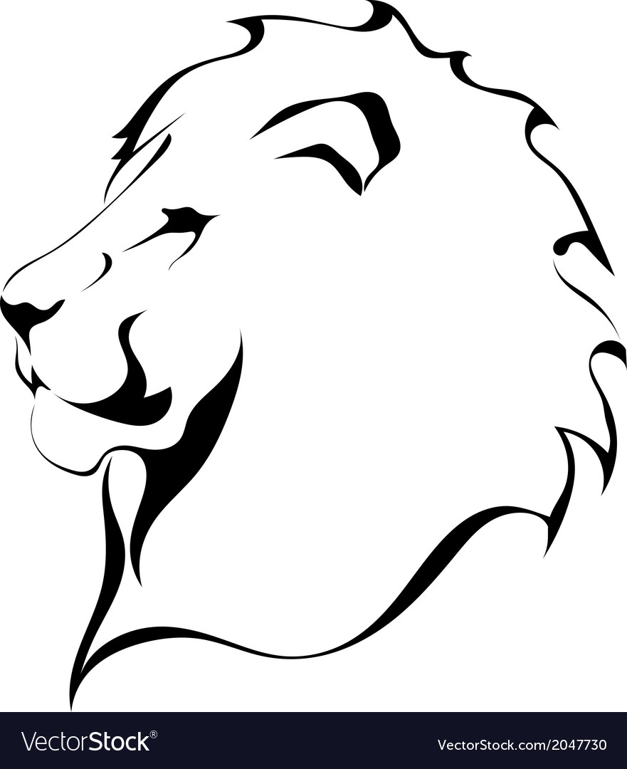 Lion head on a white background tattoo vector | Price: 1 Credit (USD $1)