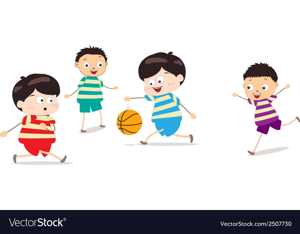 Little kids playing basketball vector | Price: 1 Credit (USD $1)