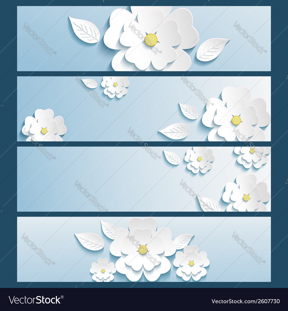 Set of banners blue with 3d flower sakura and leaf vector | Price: 1 Credit (USD $1)