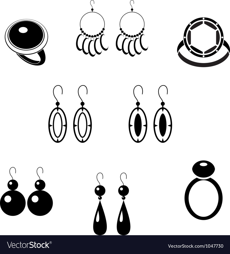 Set of black icons with jewelry vector | Price: 1 Credit (USD $1)
