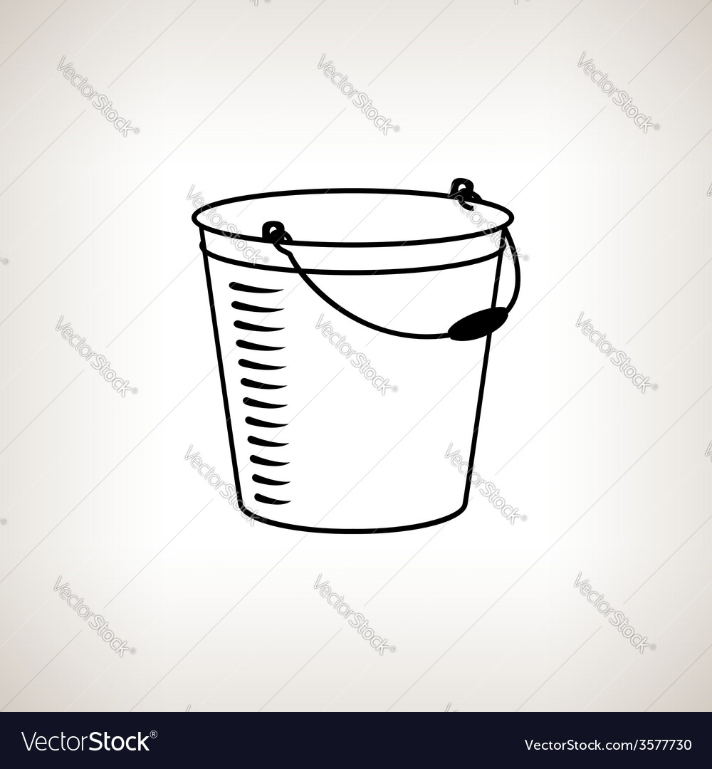 Silhouette bucket on a light background vector | Price: 1 Credit (USD $1)