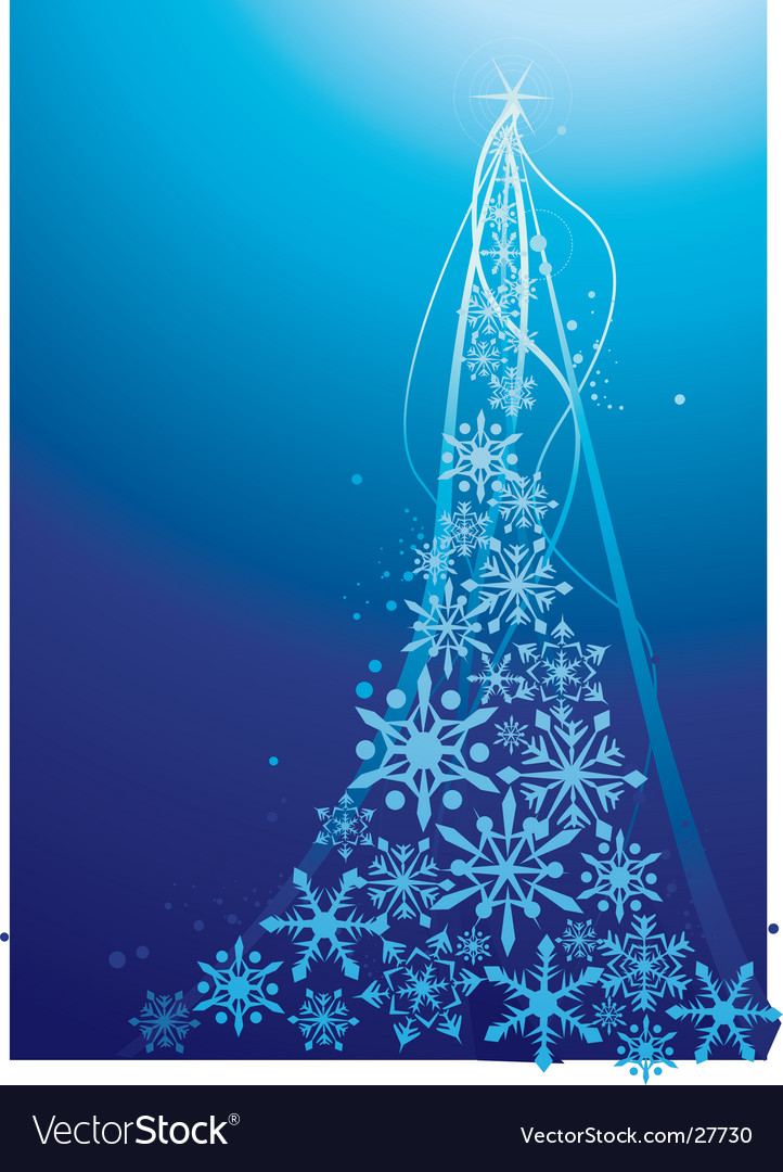 Snow flake christmas tree vector | Price: 1 Credit (USD $1)
