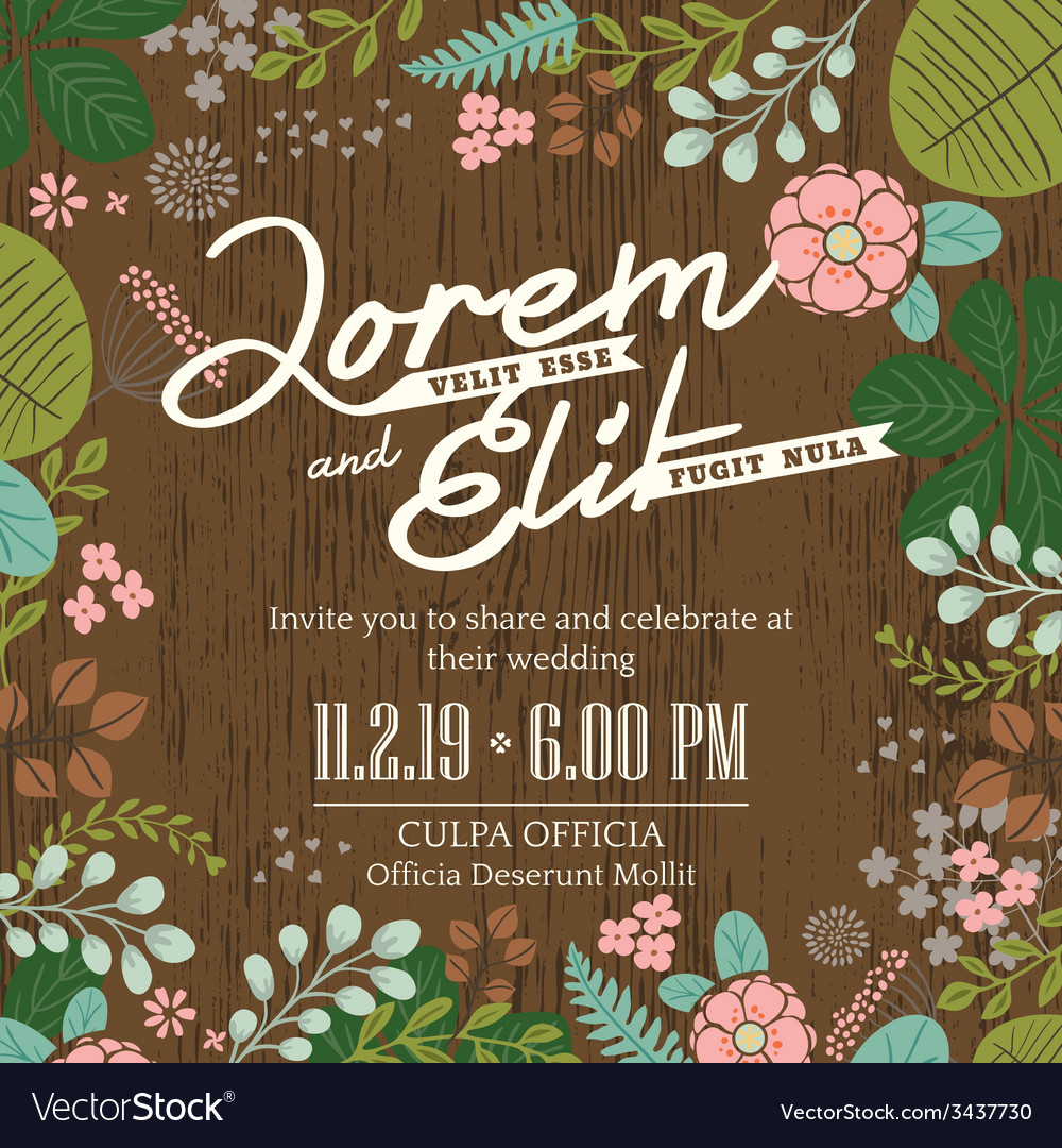 Wedding invitation card with foliage background vector | Price: 1 Credit (USD $1)