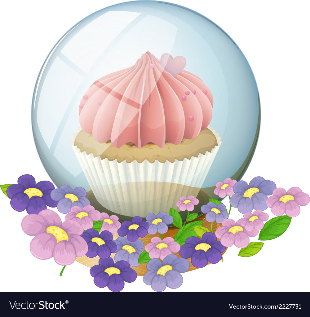 A crystal ball with a cupcake inside vector | Price: 1 Credit (USD $1)