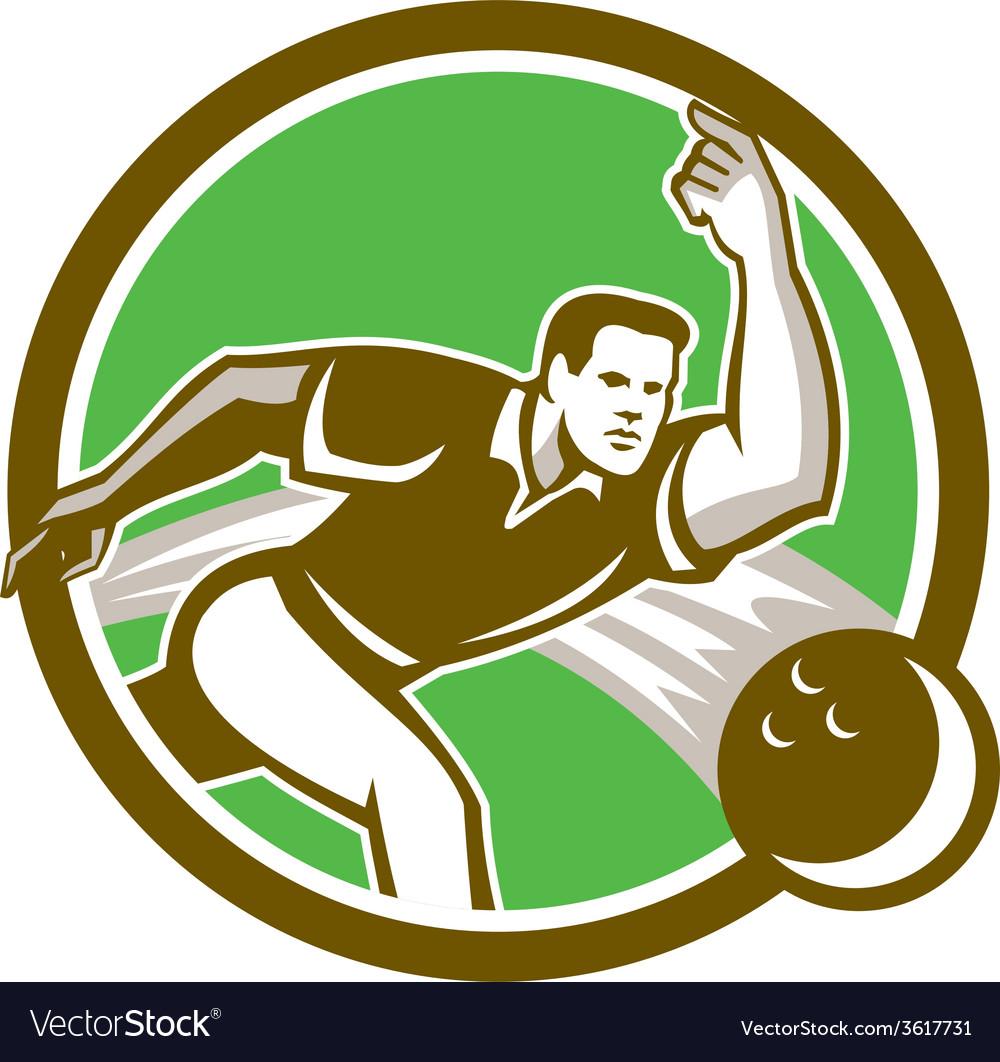 Bowler throwing bowling ball circle retro vector | Price: 1 Credit (USD $1)