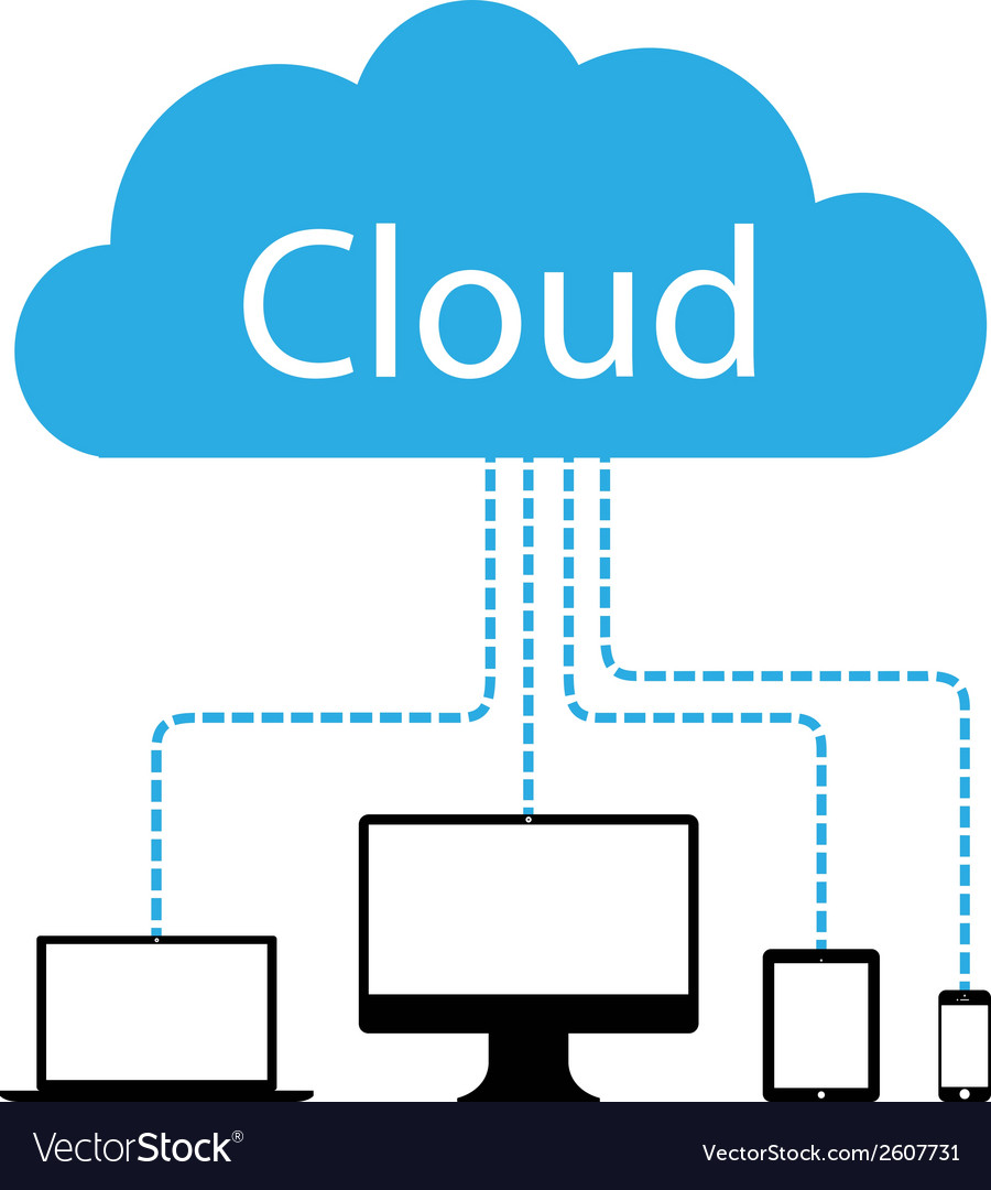 Cloud computers vector | Price: 1 Credit (USD $1)