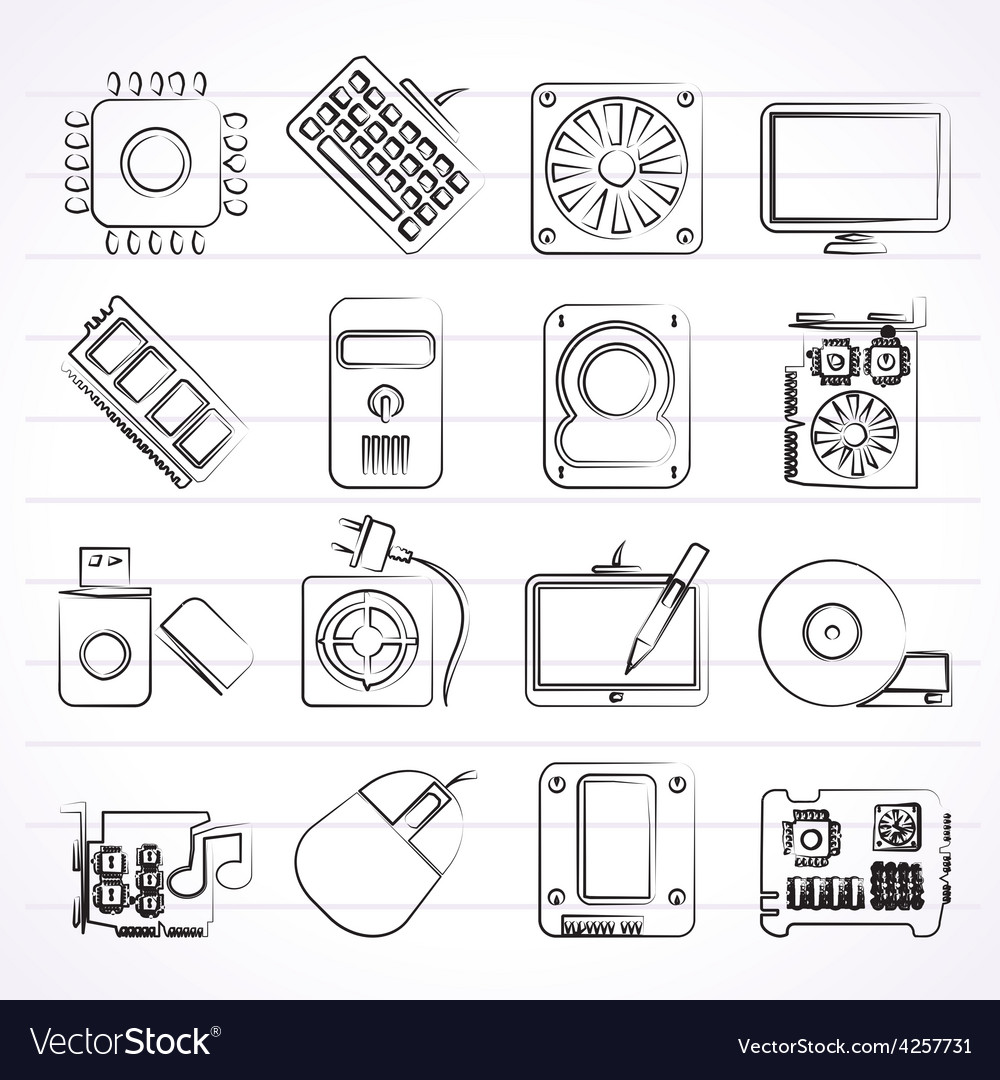 Computer part icons vector | Price: 1 Credit (USD $1)