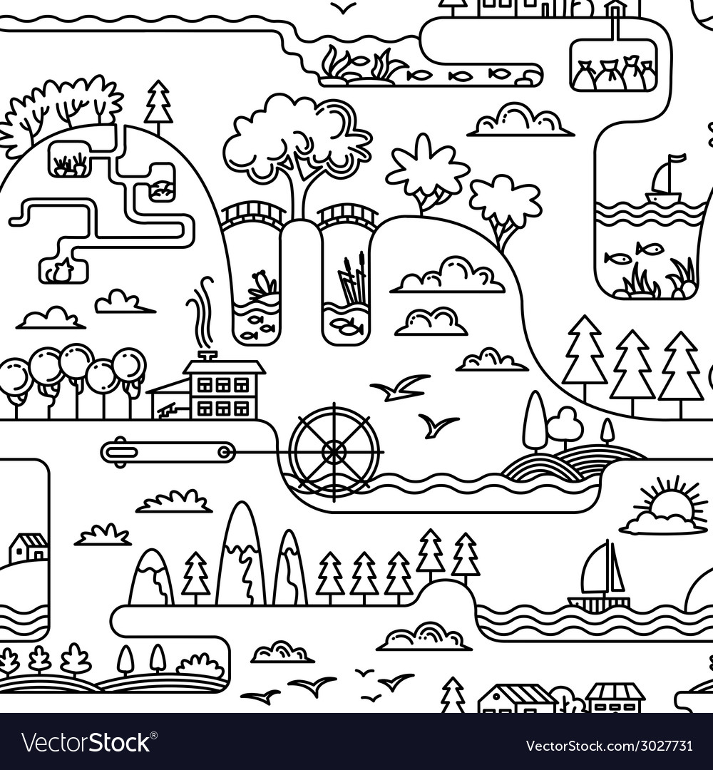 Doodle landscape vector | Price: 1 Credit (USD $1)