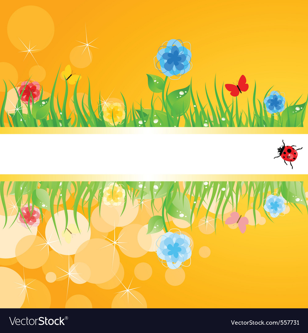 Green grass with flowers a vector | Price: 1 Credit (USD $1)