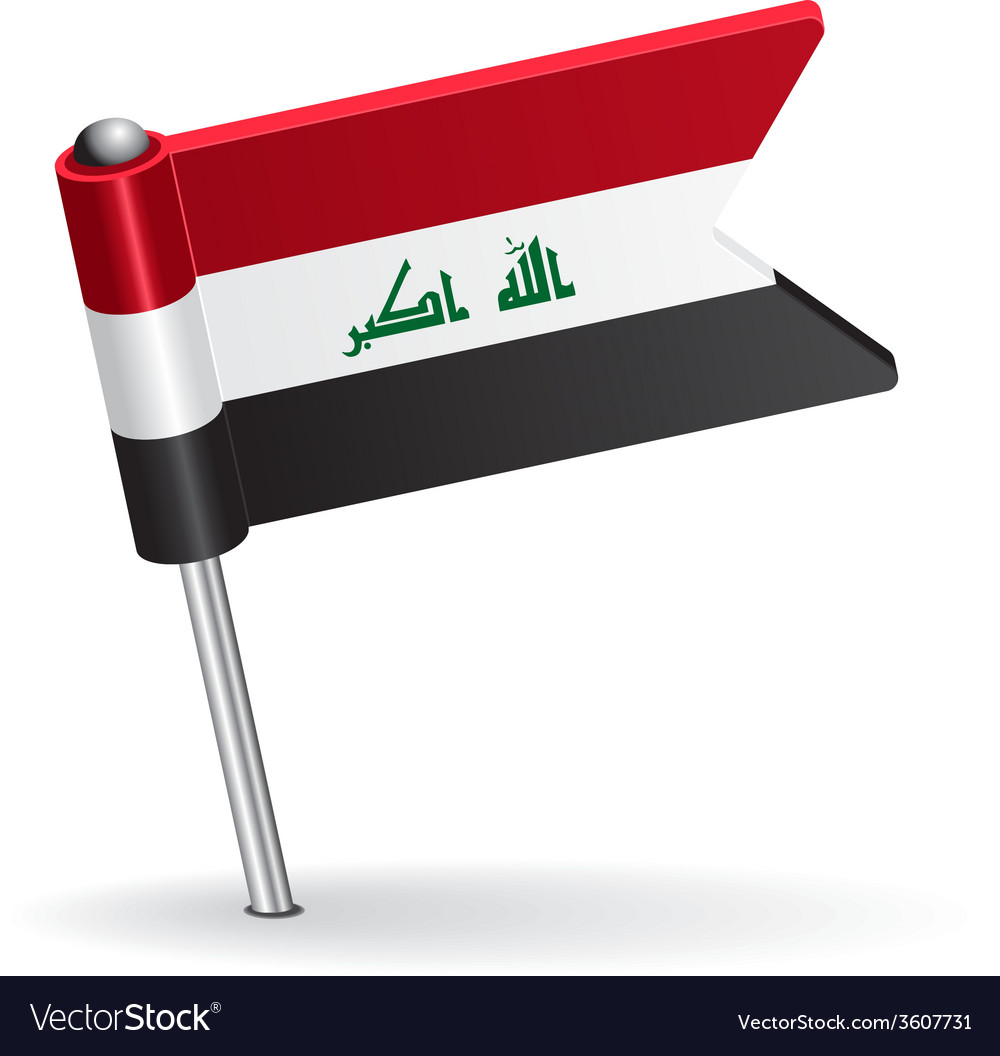 Iraqi pin icon flag vector | Price: 1 Credit (USD $1)