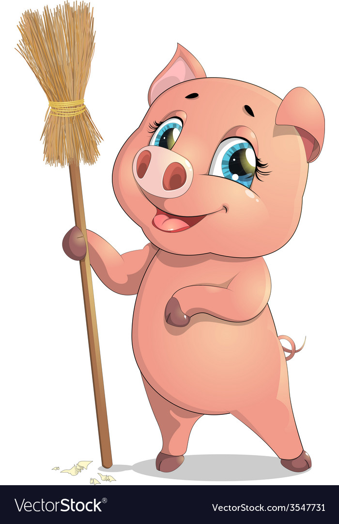 Pig and broom vector | Price: 3 Credit (USD $3)