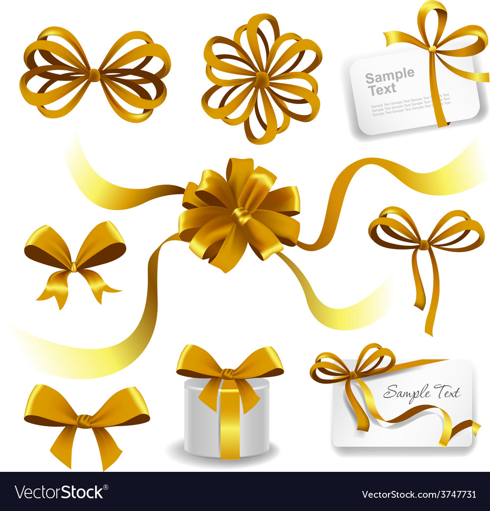 Set of gold gift bows with ribbons vector | Price: 3 Credit (USD $3)