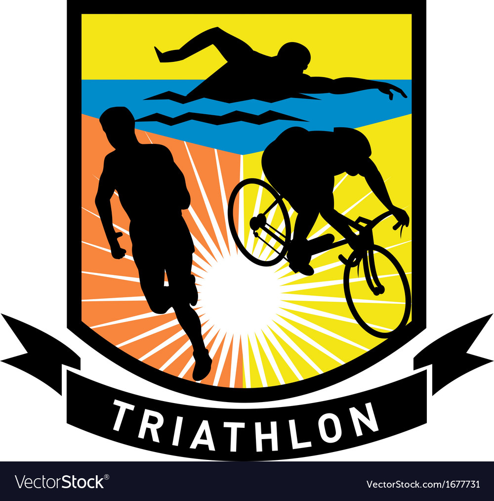 Triathlon swim bike run race vector | Price: 1 Credit (USD $1)