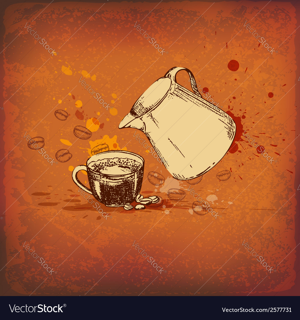 Vintage background with coffee pot vector | Price: 1 Credit (USD $1)