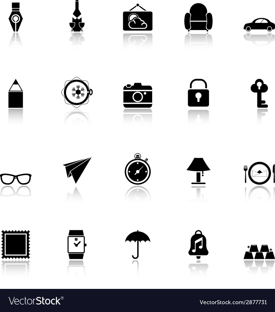 Vintage collection icons with reflect on white vector | Price: 1 Credit (USD $1)
