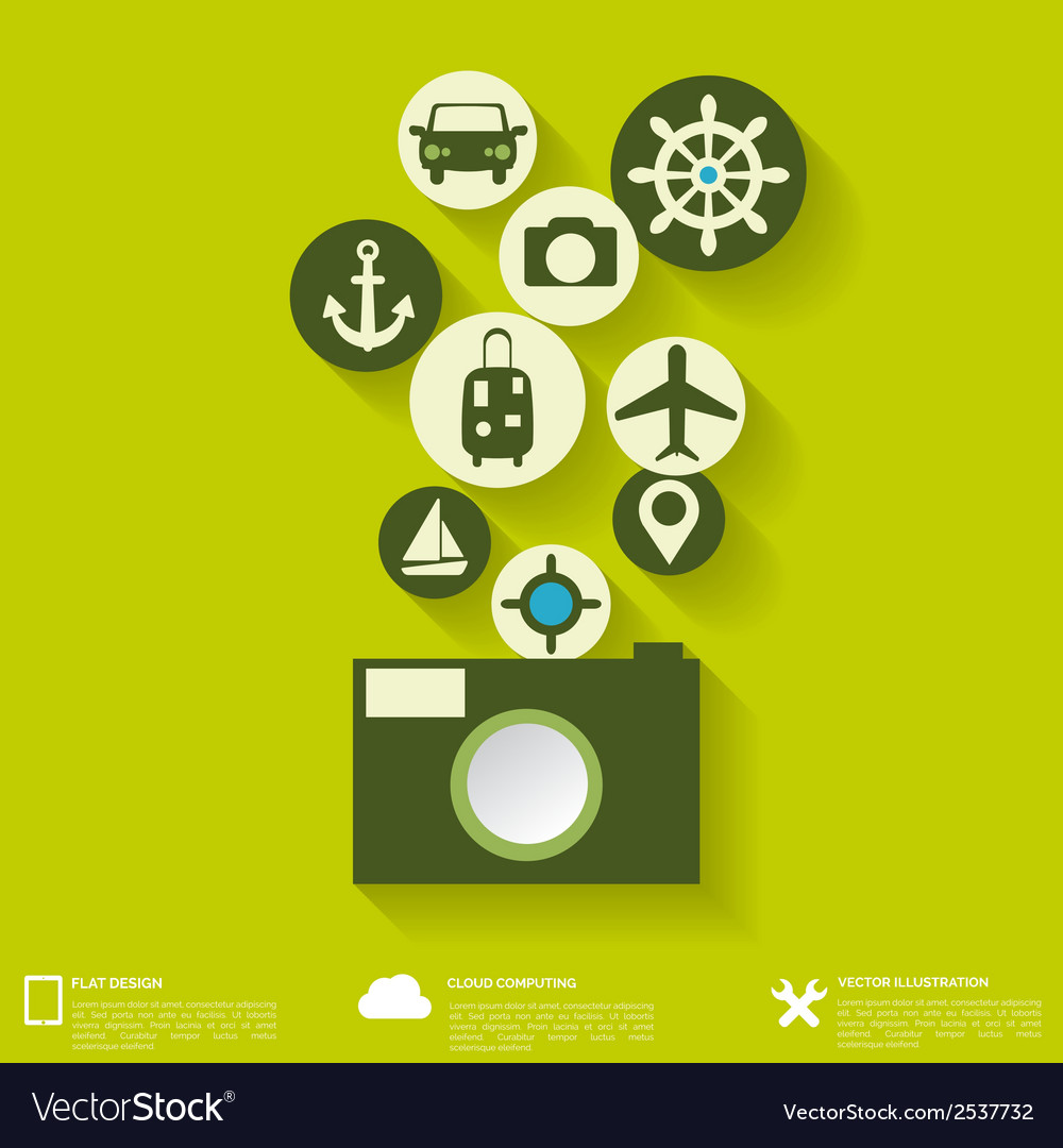 Abstract travel background with flat web icons vector | Price: 1 Credit (USD $1)