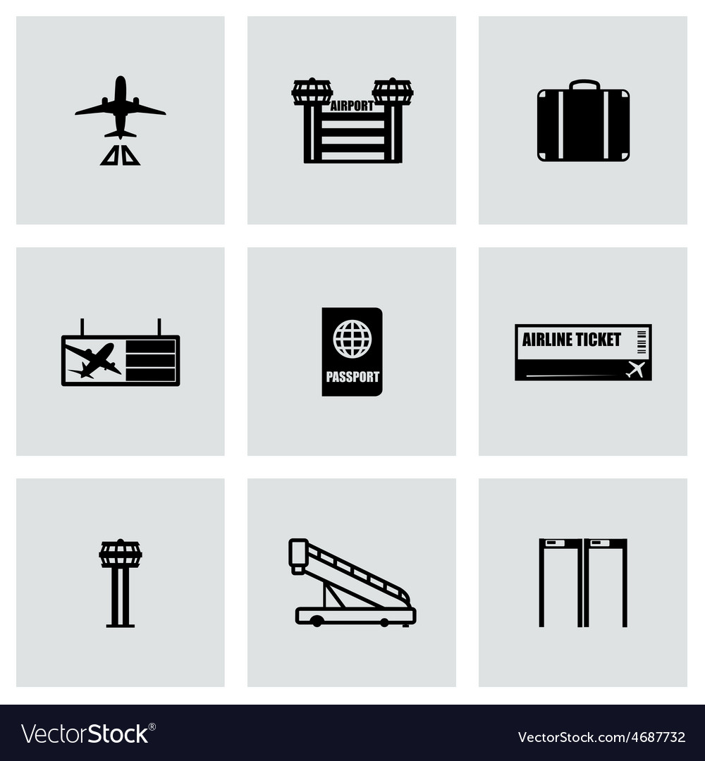 Airport icon set vector | Price: 1 Credit (USD $1)