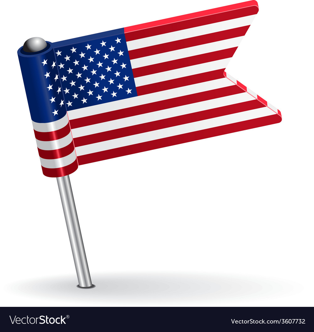 American pin icon flag vector | Price: 1 Credit (USD $1)