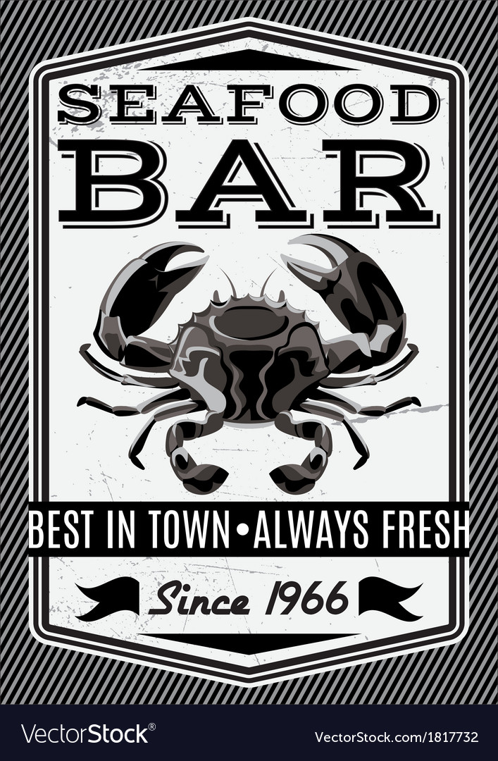 Banner with crab for restaurant menu vector