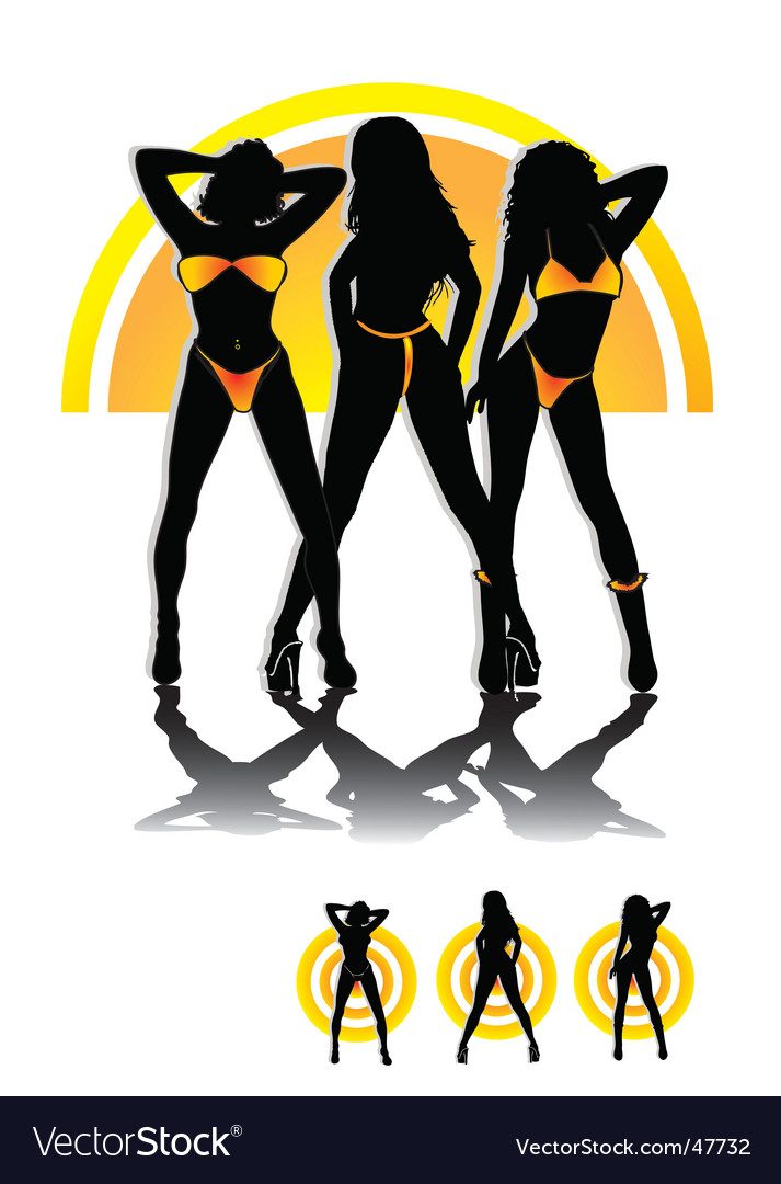 Beach babes vector | Price: 1 Credit (USD $1)