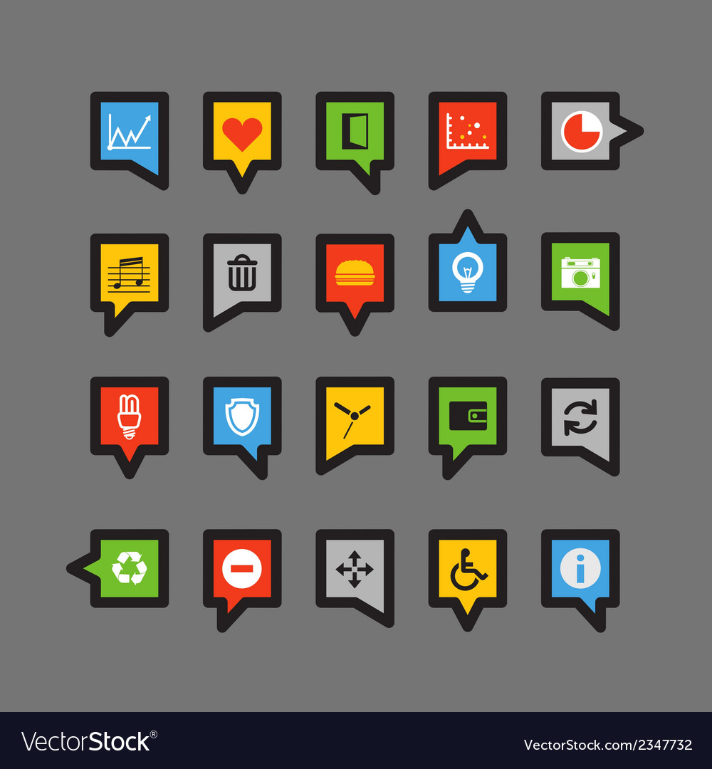 Color speech clouds with different icons vector | Price: 1 Credit (USD $1)