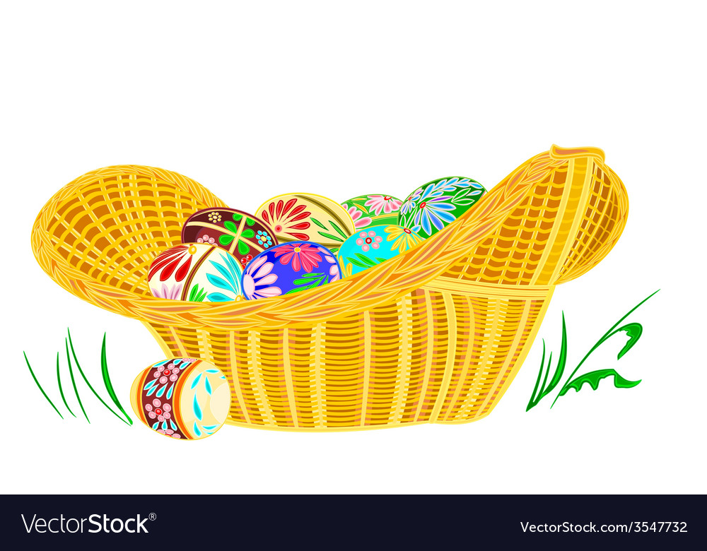 Easter eggs in a wicker basket on the grass vector | Price: 1 Credit (USD $1)