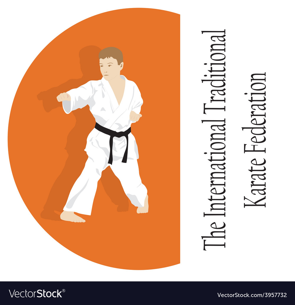 The emblem the young man is engaged in karate vector   Price: 1 Credit (USD $1)