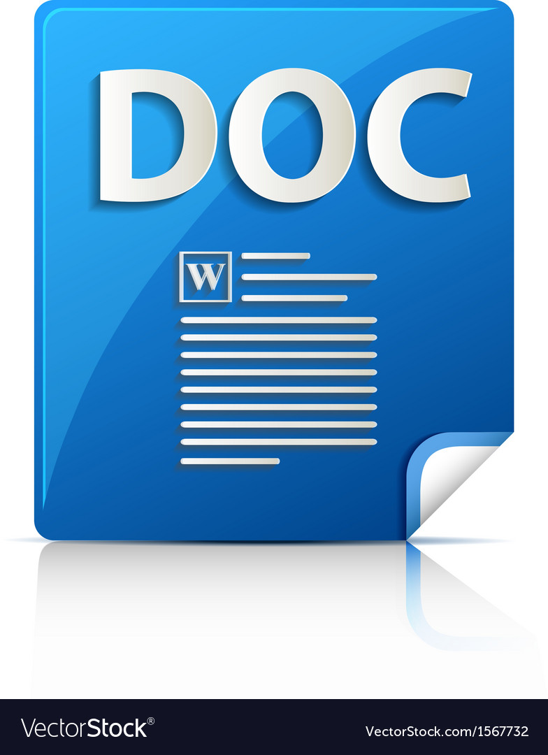 Embossed doc file type icon vector | Price: 1 Credit (USD $1)