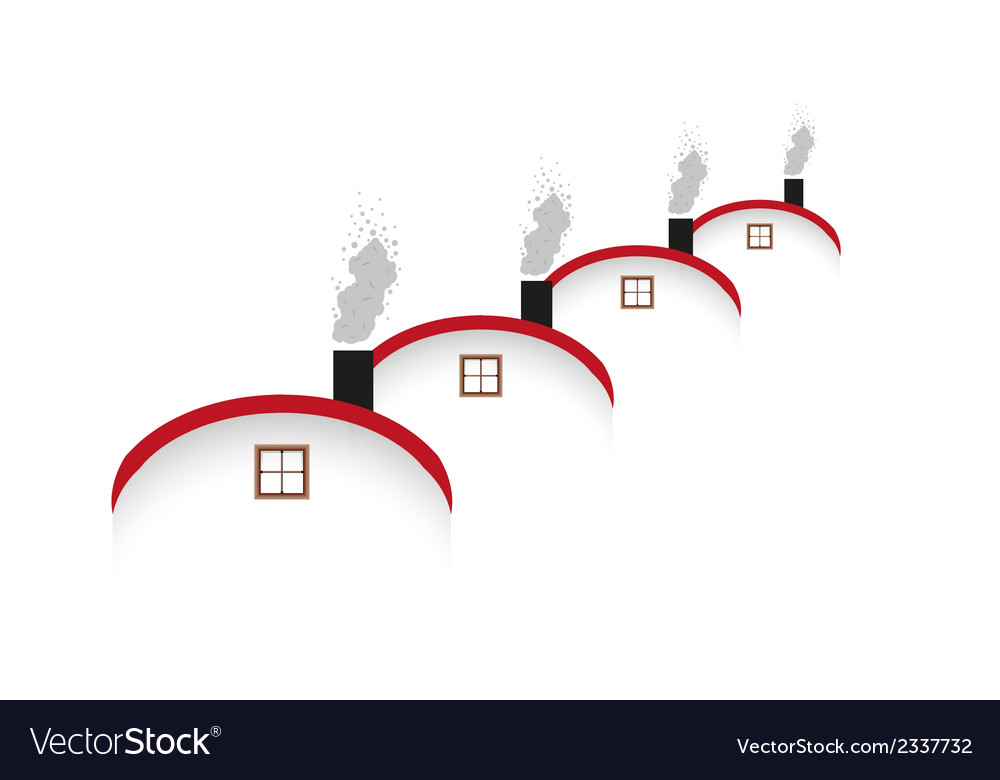 Houses and rounded roof and smoking chimney vector | Price: 1 Credit (USD $1)