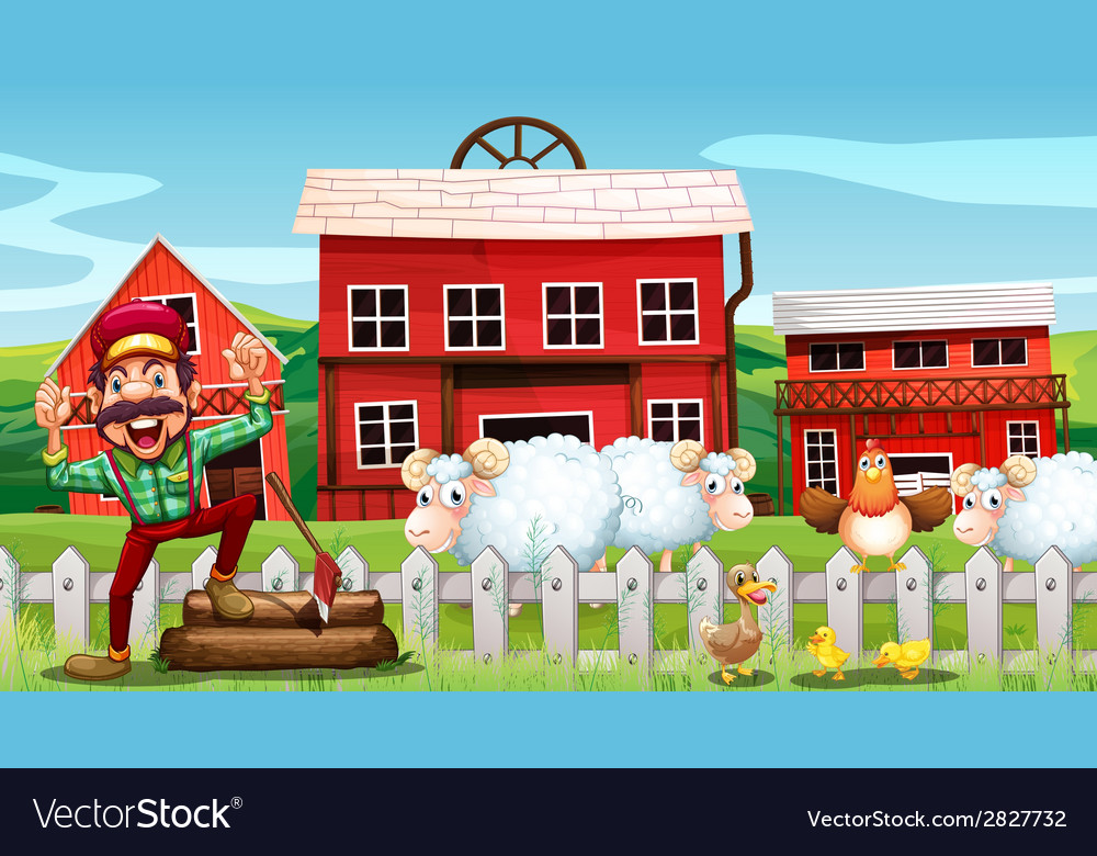 Lumberjack and barns vector | Price: 3 Credit (USD $3)