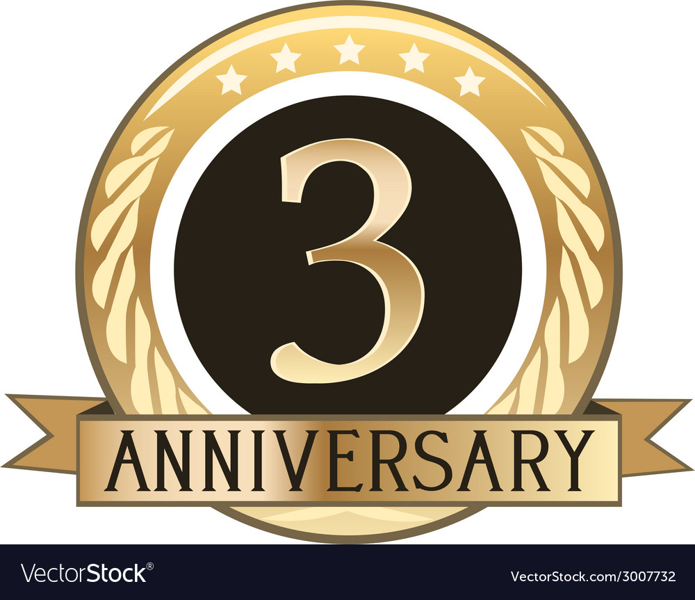 Three year anniversary badge vector | Price: 1 Credit (USD $1)