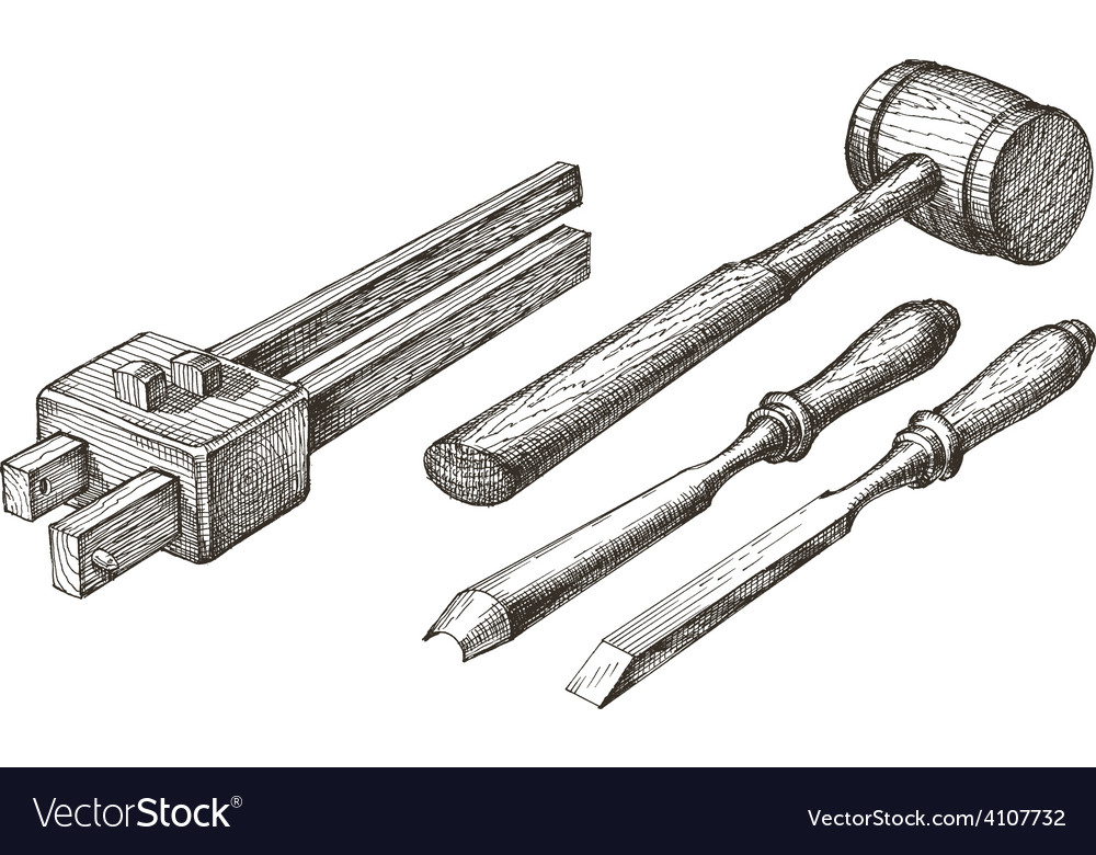 Tools logo design template chisel mallet vector | Price: 3 Credit (USD $3)