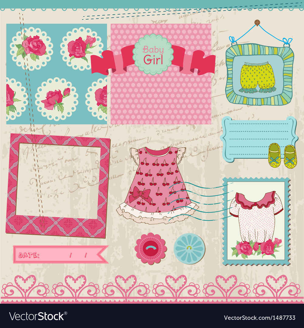 Baby girl set vector | Price: 1 Credit (USD $1)