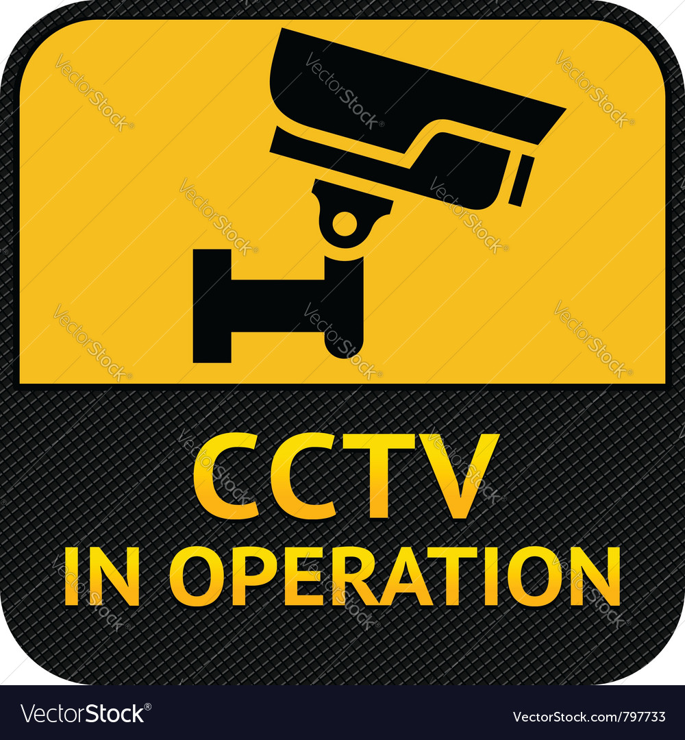 Cctv symbol label security camera vector | Price: 1 Credit (USD $1)