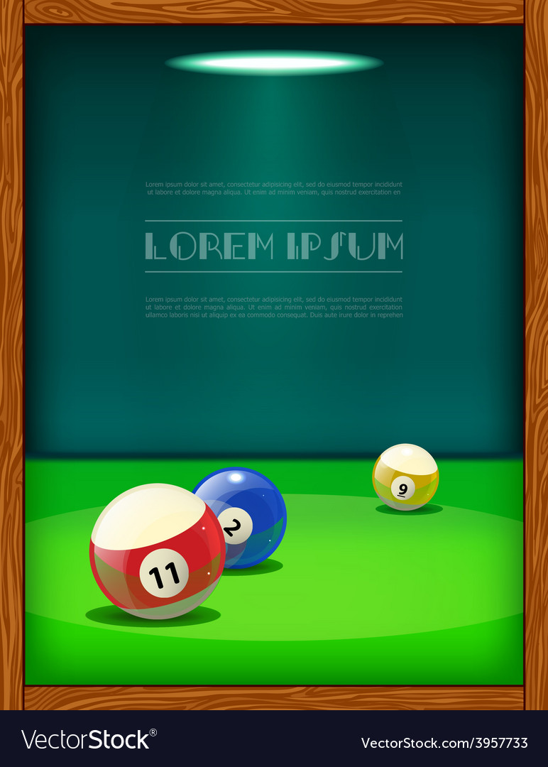 Cool billiard poster with colorful balls vector | Price: 1 Credit (USD $1)