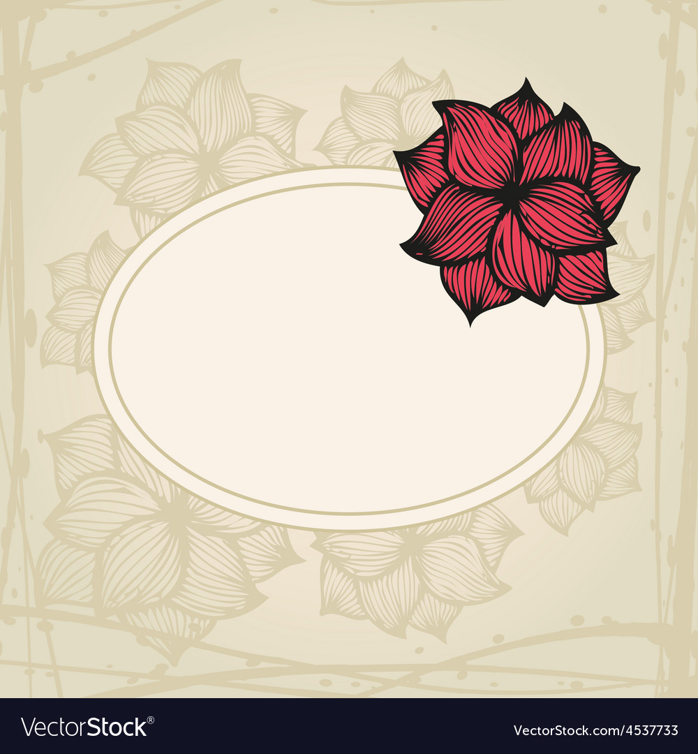 Doodling greeting card with hand drawn flowers in vector | Price: 1 Credit (USD $1)