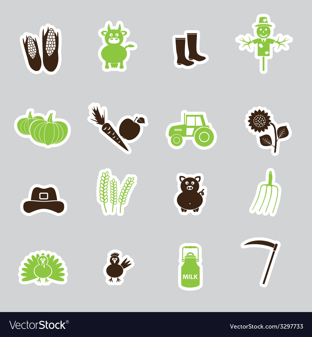 Farm simple stickers set eps10 vector | Price: 1 Credit (USD $1)